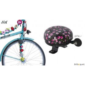 Sonnette de vélo Noire fleurs roses - Liix Funny Bell