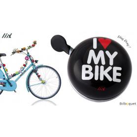 Sonnette de vélo Noire I Love My Bike - Liix Ding Dong Bell Ø80mm