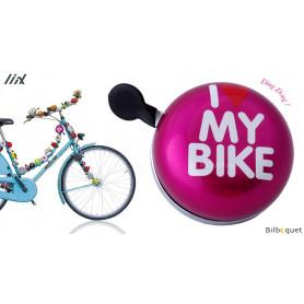 Sonnette de vélo Rose I Love My Bike - Liix Ding Dong Bell Ø80mm