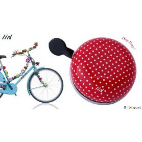 Sonnette de vélo Rouge à pois blancs - Liix Ding Dong Bell Ø80mm