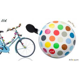 Sonnette de vélo Blanche Polka Dots Big Mix - Liix Ding Dong Bell Ø80mm