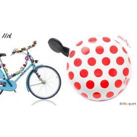 Sonnette de vélo Blanche à gros pois rouges - Liix Ding Dong Bell Ø80mm