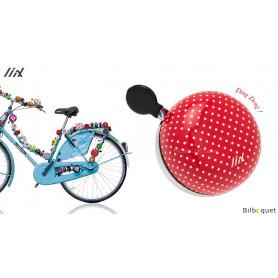 Sonnette de vélo Rouge à pois blancs - Liix Mini Ding Dong Bell