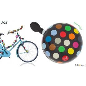 Sonnette de vélo Noire Polka Dots Big Mix - Liix Ding Dong Bell Ø80mm