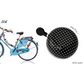 Sonnette de vélo Noire à gros pois blancs - Liix Mini Ding Dong Bell