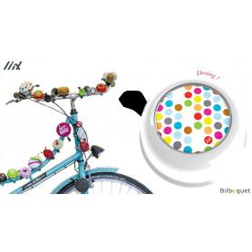 Sonnette de vélo blanche Polka Dots Mix - Liix Colour Bell Ø60mm