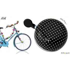Sonnette de vélo Noire à pois blancs - Liix Ding Dong Bell Ø80mm