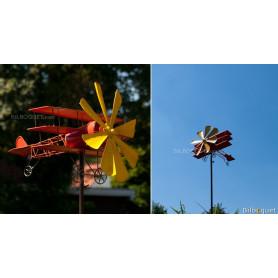 Éolienne métallique Avion Triplan Baron Rouge