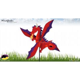 Éolienne Déco d'extérieur WhirliGig Dragon rouge 76cm