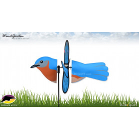Oiseau Bluebird Merlebleu 43cm - Petite éolienne décorative