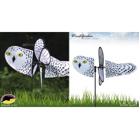 Chouette Harfang 45cm - Petite éolienne de jardin
