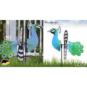 Oiseau Paon 38cm - Petite éolienne de jardin