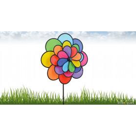 Éolienne décorative fleur triple Ø48cm