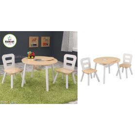 Table ronde et ses deux chaises - Mobilier enfant