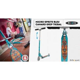 Micro Sprite Bleu canard Grip tribal - Édition Spéciale - Trottinette 5-12 ans