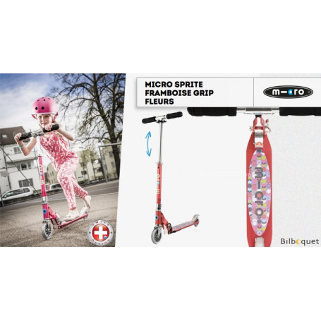 Micro Sprite Framboise Grip Fleurs - Édition Spéciale - Trottinette 5-12 ans