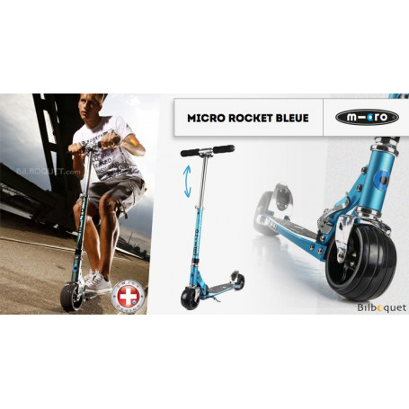Trottinette Micro Rocket bleue - Adulte