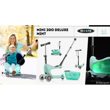 Mini2Go Deluxe Plus - porteur et trottinette - Mint
