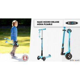 Maxi Micro Deluxe Aqua pliable - Trottinette 5-12 ans