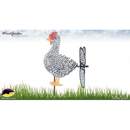 Poule noire et blanche 37cm - Petite éolienne de jardin