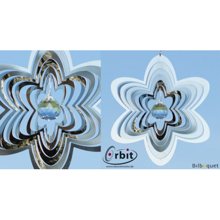 Fleur Miroir Cristal 200 - Suspension décorative en inox