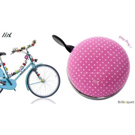 Sonnette de vélo Polka Dots Pastel Pink - Liix Ding Dong Bell Ø80mm