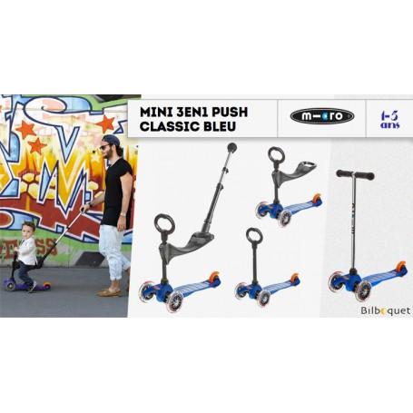 Mini Micro 3-en-1 Push Classique Bleu - trottinette et porteur