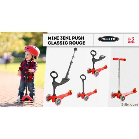 Mini Micro 3-en-1 Push Classique Rouge - trottinette et porteur