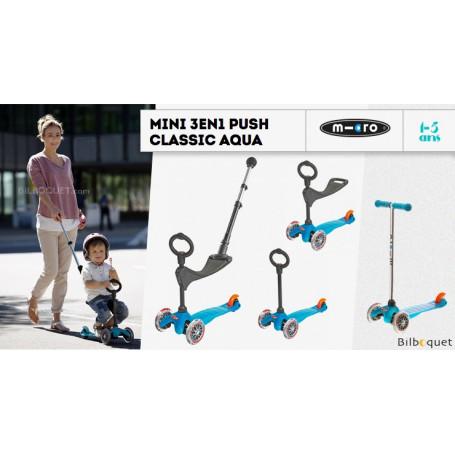 Mini Micro 3-en-1 Push Classique Aqua - trottinette et porteur