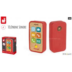 Téléphone Smartphone sonore - Jouet d'éveil en bois