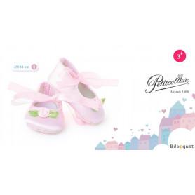 Ballerines roses avec fleur pour poupée de 39 à 44cm