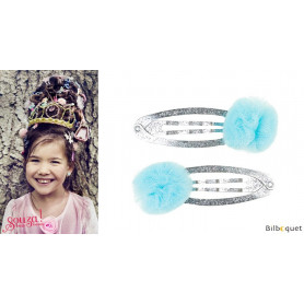 Pinces à cheveux Elise - pompons en tulle bleu - 1 paire - Accessoire pour enfants