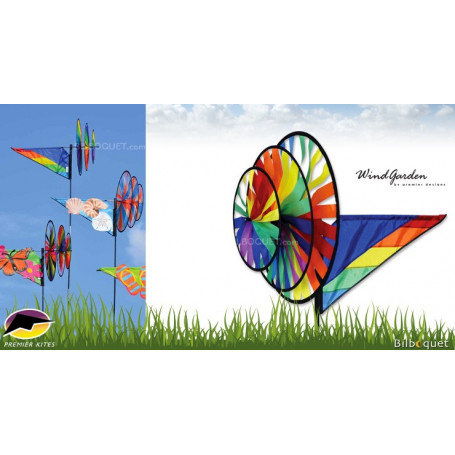 Éolienne de jardin triple arc-en-ciel