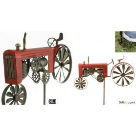 Éolienne métallique Tracteur rouge