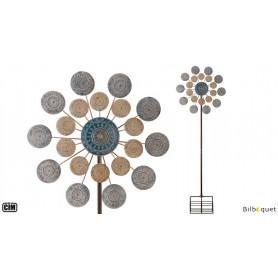 Kinetic Spinner Médaillon bleu - Éolienne de jardin en métal peint 66cm