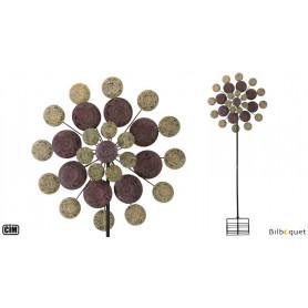 Kinetic Spinner Médaillon de sagesse - Éolienne de jardin en métal peint 81cm