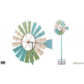 Kinetic Spinner Côtier - Éolienne de jardin en métal peint 66cm