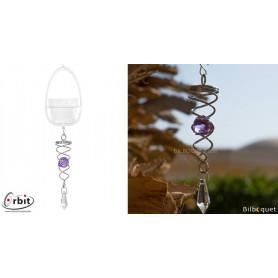 Petit cristal Twister violet - Suspension décorative en inox