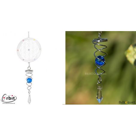 Petit cristal Twister bleu - Suspension décorative en inox