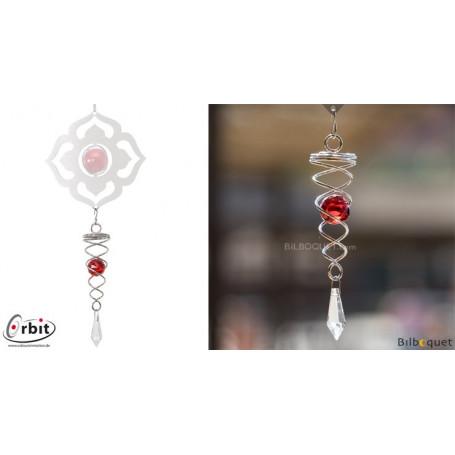 Petit cristal Twister rouge - Suspension décorative en inox