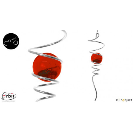 Spirale rouge - Suspension décorative en inox