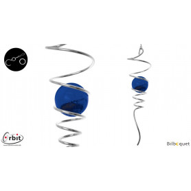 Spirale bleue - Suspension décorative en inox