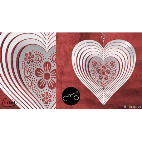 Ornement miroir - Coeur 140 - Suspension décorative en inox
