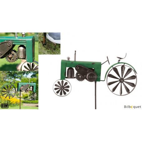 Éolienne métallique Tracteur vert