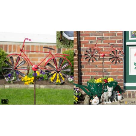 Éolienne métallique Bicyclette Rouge