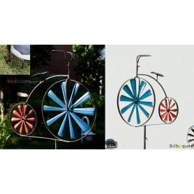 Éolienne métallique Bicyclette Grand BI bleue et rouge