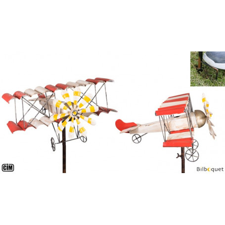 Biplan Vintage - Éolienne de jardin en métal peint