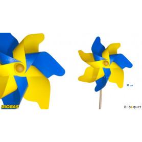 Moulin à vent jaune et bleu Ø32cm