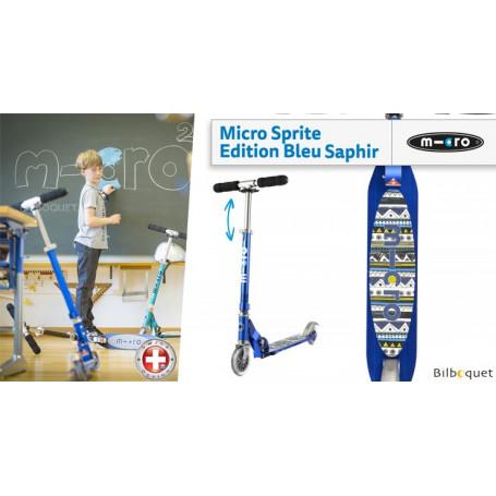 Micro Sprite Bleu Saphir Grip Aztec - Édition Spéciale - Trottinette 5-12 ans