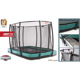 Trampoline BERG InGround EazyFit vert avec filet de protection Deluxe